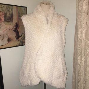 Faux Fur Vest in Ivory L/XL
